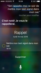 IOS - Fonction de rappel avec Siri