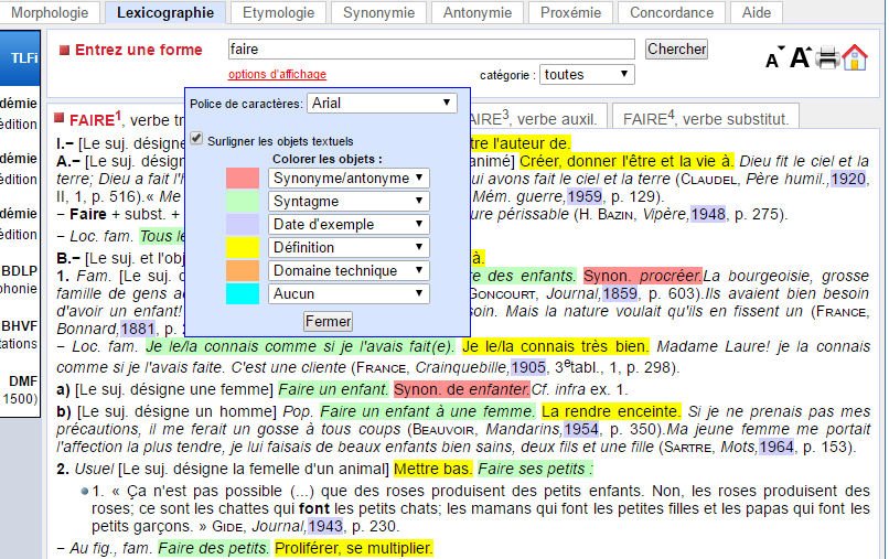 Lexicographie - options pour surligner l'information